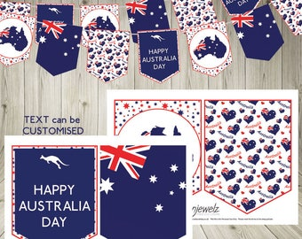 Australia Day Bunting Garland printable download Australia flag Australian flag party flags customised bunting printable banner