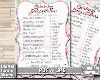 Baby Shower Celebrity Baby Name Game Vintage - Celebrity Baby Shower Game, Stroller Celebrity Baby Name  - Instant Download - s09