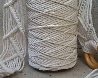1kg cotton rope - 3mm diameter, twisted rope for Macrame projects