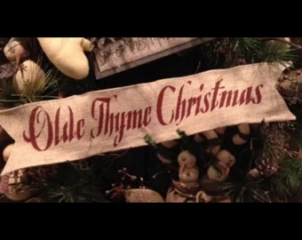 Primitive Olde Thyme Christmas Wired Jute Burlap Ribbon Banner Ornament Garland