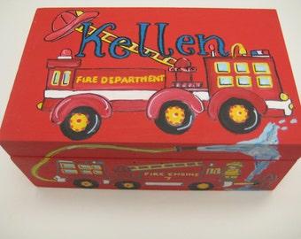 Hand painted,personalized,fire truck,keepsake box,red box,boy's keepsake box,children's memory boxes,kids boxes,baby's memory box,baby gift