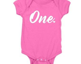 First Birthday Girl Shirt, One Birthday Onesie, 1st Birthday Girl Onesie, Baby Girl One Year Outfit, Baby Girl Birthday Shirt, One Shirt