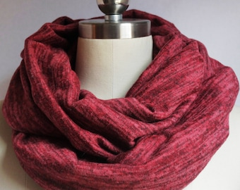 Red/Wine sweater knit Infinity Scarf