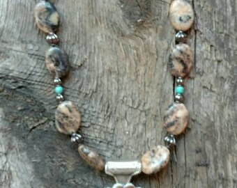 Chunky Western Glam- Landscape Stone Necklace with Silver and Hair on Hide Concho