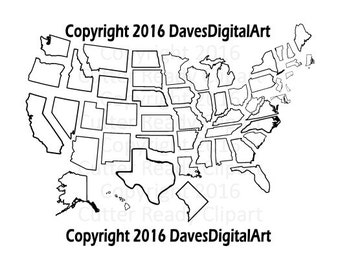 Complete set of 50 US states Thick lines ready to embroider, Great for vinyl cutter, 50 State Clipart set, State Clip art, 50 state patterns