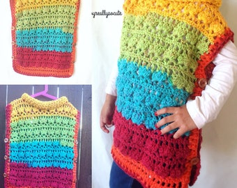 girl poncho, handmade poncho, poncho for girl , multicolor crochet kids poncho, poncho kids,winter poncho,child size poncho, buttoned poncho