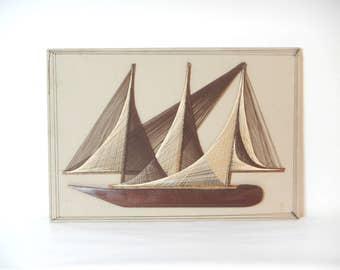 Vintage 1960/70s Handmade Sail Boat String Art Wall Hanging/Nautical String Art