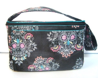 """4"""" Large Size Coupon Organizer Holder with Zipper Closer - Black with Sketch Sugar Skulls"""