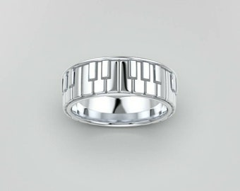 Piano sterling silver ring / Sterling silver piano ring