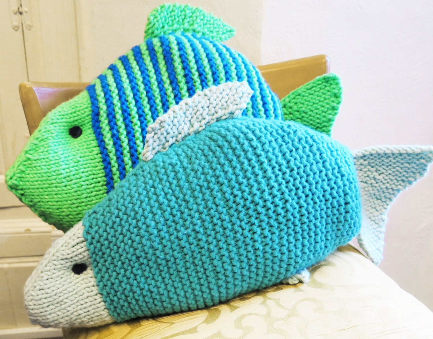 Knitted Cushion, Pillow, Fish Cushion, Fish gift, Knitted Fish ...