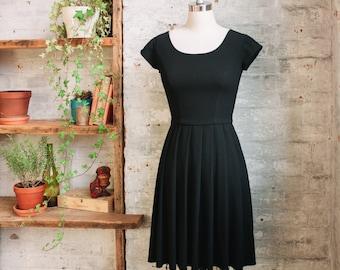 Tiffany - women's black pleated dress with short cap sleeves - knee length dress - little black dress - cocktail dress - semi formal dress