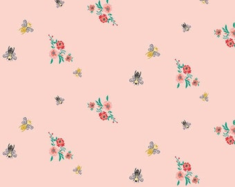 Bits and Bees Mellow - Soft Pink - Millie Fleur Collection by Bari J - Art Gallery Fabrics - AGF - Premium Cotton Quilting Fabric - One Yard