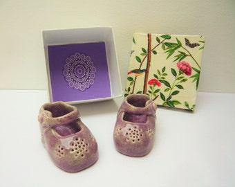 Handmade booties ceramic birthday gift