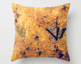 Throw Pillow Case, Fall, Autumn Tree Branches, Changing Seasons, Yellow Leaves, Home Decor, Photography by RDelean Designs