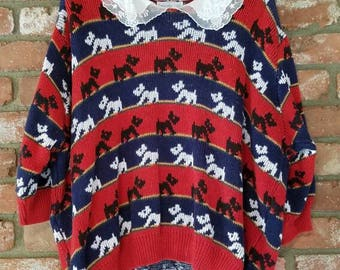 Vintage YORKIE dog sweater 1980's lace red, black, blue