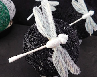 black yarn ball tealight with white dragonfly