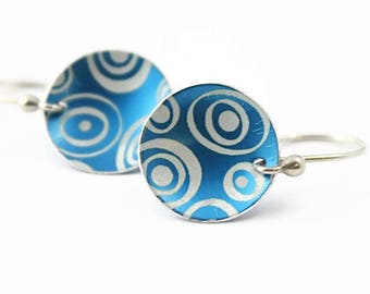 Turquoise Blue Disc Earrings, Retro Dots Pattern, Anodized Aluminum, Argentium Silver Earwires, Handmade