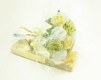 Origami Fresh Meadow Rose Bouquet, Green and Maize Yellow (1 Dozen Gift Wrapped) Anniversay Gift, Valentines day gift, Party favors