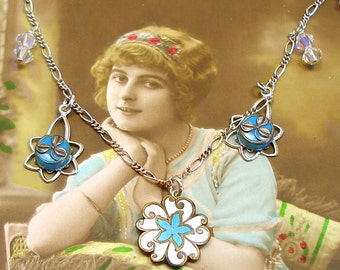 Antique BUTTON Necklace, Turquoise flowers in glass & enamel on sterling chain, one of a kind jewellery.