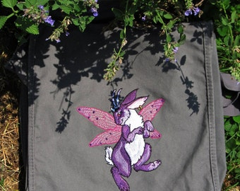 Fairy Bunny Canvas Messenger Bag