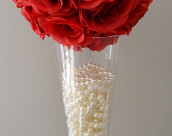 "RED flower ball, Premium soft silk, WEDDING CENTERPIECE, wedding pomander kissing ball, flower girl 7"" 8"" 10"" 12 14"" 16"" 18"""