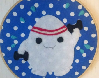 Doctor Who Adipose Working Out Embroidery Hoop Dr Who Whovian Kawaii Fat Monster