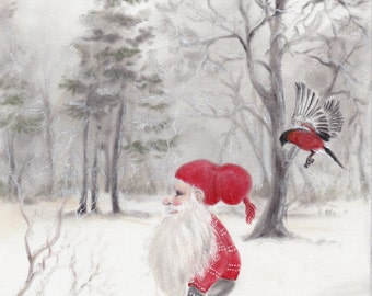 "Original Art: ""Gnome and bullfinch"" - christmas, nordic folklore,scandinavian, nisse, tomte, dompap, jul, xmas, holidays, winter,"