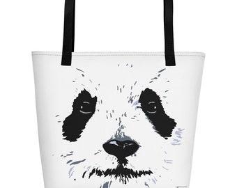 Panda Beach Bag Cute Bag for the Beach Minimalist Design Black and White Adorable Panda Face Big Bag Trendy Fashionable with Inside Pocket