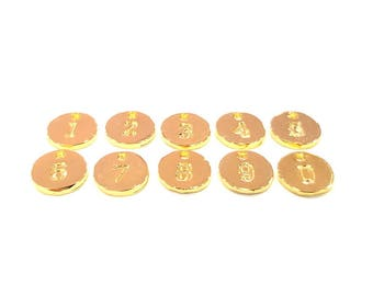 Number Charms Gold Number Charms 10mm , Gold Plated Charms G9577
