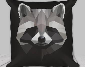 Raccoon Pillow / Cushion - Geometric Print