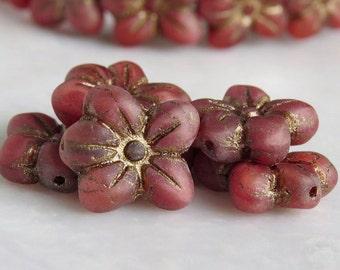 Amaryllis Czech Glass Bead 14mm Flower Blossom : 6 pc Red Flower Bead