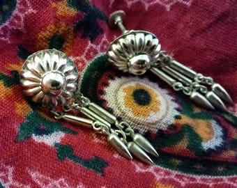 Screw Back 1950s Silver Fringe Earrings