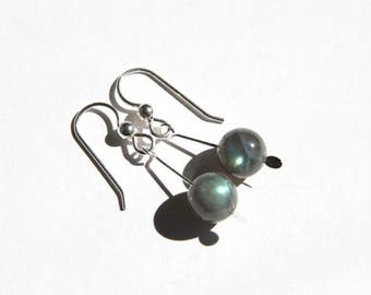 Labradorite Drop Earrings Sterling Silver Argentium Silver Gray Grey Natural Stone Iridescent Flashy Blue Green Labradorite Jewelry  #17544
