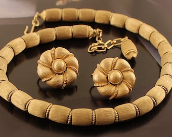 Trifari Brushed Gold Tone Choker Necklace Earrings Set, Crown Trifari, Vtg 1950s Costume Jewelry