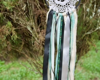 Black and Teal Doily Dream Catcher