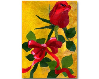 A Single Red Rose - CARD or PRINT with a custom mat - Share the Romance - Love, Anniversary, Wedding, Engagement Card (CMEM2013062)
