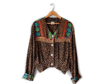 80s beaded abstract blouse | S/M