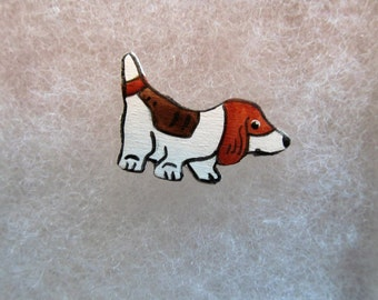Cute Basset (dog) Jewelry Pin - handcarved and handpainted