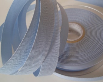 "Twill Tape Cotton 5/8"" width Pale Blue 10 Yards"