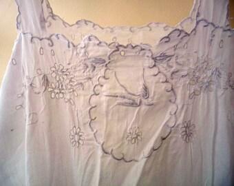 Vintage White Underslip Mid Length Sleeveless Lace Detail Petticoat Nightwear Cool Nightie