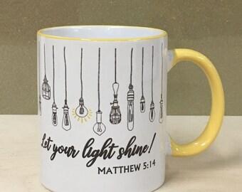 "Matthew 5:14 - ""Let your light shine"" - Beautiful Printed Mug - Bible Christianity Holy"
