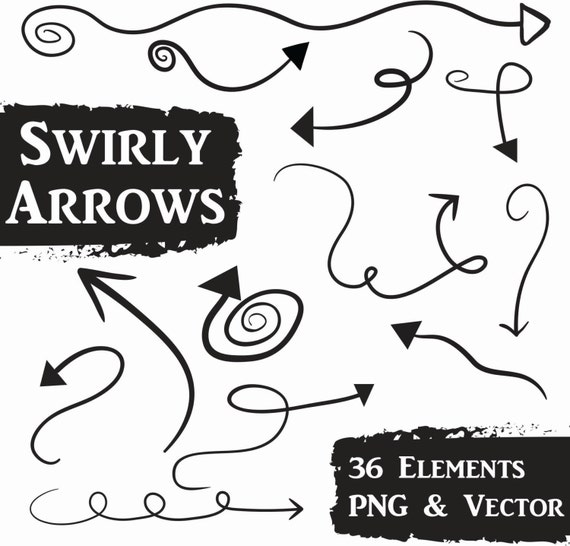 Swirly Arrows Clip Art Set Doodle Arrows Commercial Use