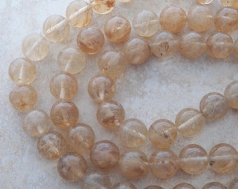 16mm Light Yellow Cherry Quartz Round Gemstone Beads, 12 PC (IND1C227)