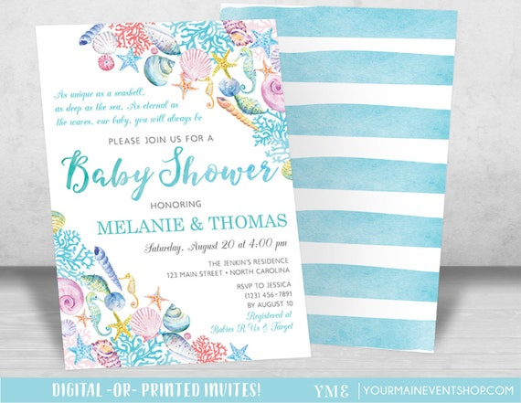 Beach Baby Shower Invitation, Nautical Sea Shell Beach Baby Shower Invite, Girl Baby Shower, Boy Baby Shower