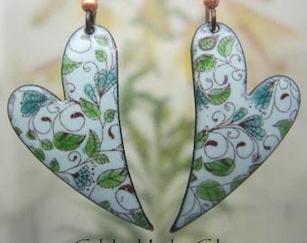 Flowering Vines Enamel Heart Earrings, Copper Enamel Jewelry handmade in North Carolina