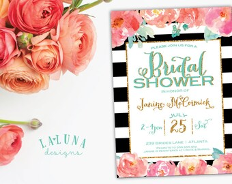 Bridal Shower Invitation, Floral Black & White Stripe Bridal Shower Invite, Gold Glitter Bridal Shower, Watercolor Floral, DIY Printable