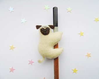 Pug Pencil Topper/Hugger - Felt Plush