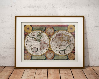 Old vintage Illustrations of maps-World Map