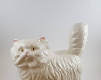 Large Vintage White Cat Figurine