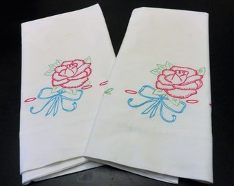 Embroidered Pillowcase Set, Rose Accented Pillow Cover, Red Rose Blue Ribbon Vintage Pillow Cases, Embroidery Pillow Case